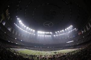 The Superdome is darkened during a power outage in the NFL Super Bowl XLVII football game in New Orleans